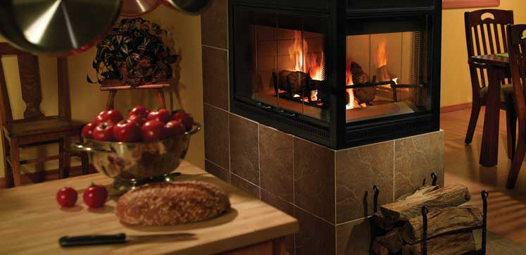 falls glass wood burning fireplace